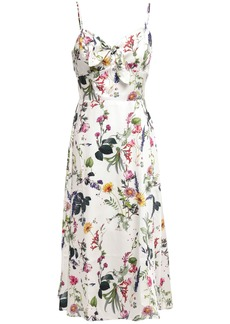 Bailey 44 Woman Knotted Floral-print Satin-twill Midi Dress White