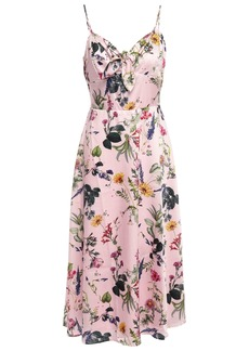 Bailey 44 Woman Knotted Floral-print Satin-twill Midi Dress Baby Pink