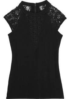 Bailey 44 Woman Lace-paneled Stretch-jersey Top Black