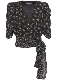 Bailey 44 Woman Lillian Printed Georgette Wrap Top Black