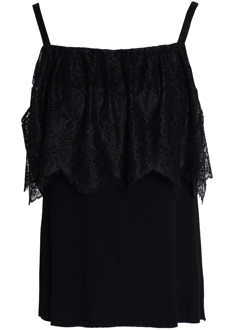 Bailey 44 Woman Montage Cold-shoulder Lace-paneled Stretch-jersey Top Black