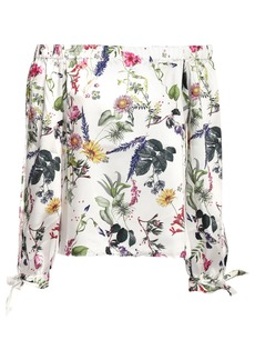 Bailey 44 Woman Off-the-shoulder Floral-print Satin-twill Top White