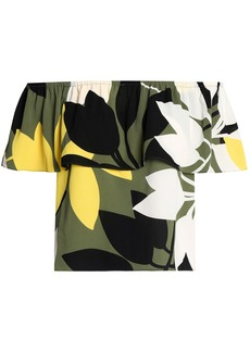 Bailey 44 Woman Off-the-shoulder Layered Printed Crepe Top Leaf Green