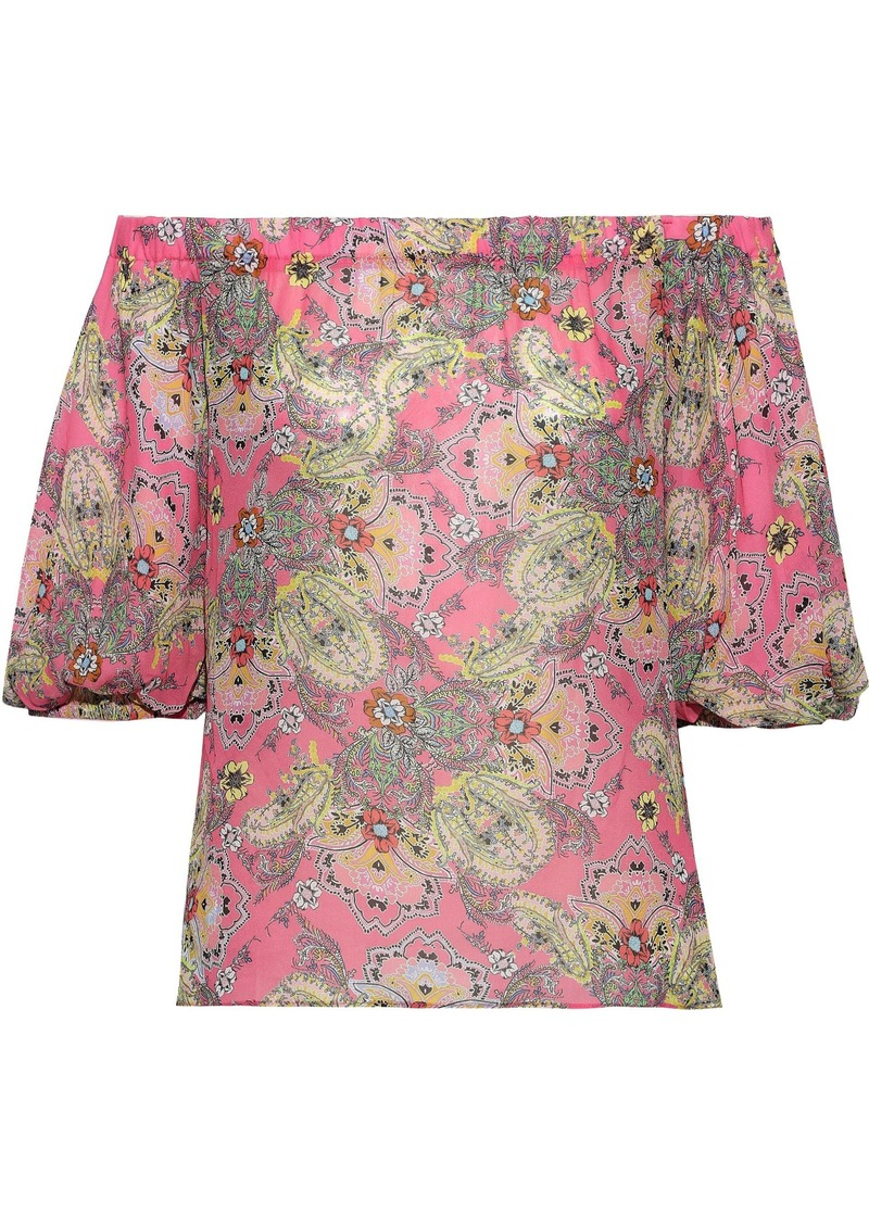 Bailey 44 Woman Off-the-shoulder Printed Crepe De Chine Blouse Pink