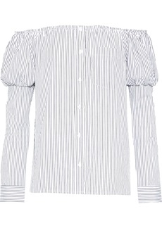 Bailey 44 Woman Off-the-shoulder Striped Poplin Top White
