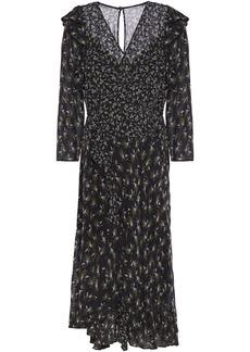 Bailey 44 Woman Ophelia Wrap-effect Ruffle-trimmed Printed Georgette Midi Dress Black