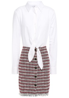 Bailey 44 Woman Paneled Cotton-blend Poplin And Tweed Mini Dress White