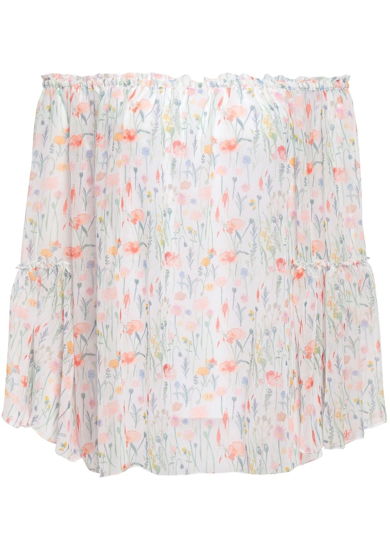Bailey 44 Woman Phantasm Floral-print Georgette Top Off-white