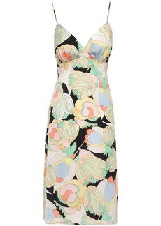 Bailey 44 Woman Prismatic Shirred Printed Crepe De Chine Dress Light Green