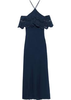 Bailey 44 Woman Pudina Cold-shoulder Crochet-paneled Cotton-gauze Maxi Dress Navy