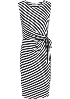 Bailey 44 Woman Ruched Striped Stretch-jersey Dress Black
