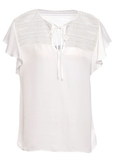 Bailey 44 Woman Ruffled Guipure Lace-trimmed Satin Top White