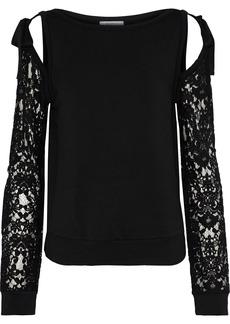 Bailey 44 Woman Sentimental Cold-shoulder Lace-paneled Stretch-modal Fleece Sweatshirt Black