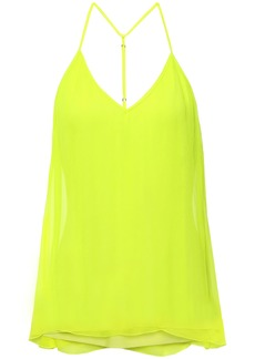 Bailey 44 Woman Silk-gauze Neon Halterneck Top Bright Yellow