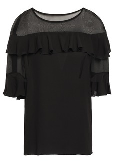 Bailey 44 Woman Silk Voile-paneled Ruffled Crepe Blouse Black