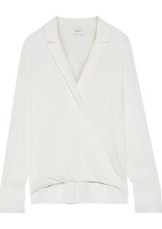 Bailey 44 Woman Sloane Wrap-effect Crepe De Chine Blouse Cream