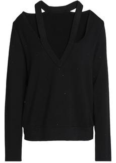 Bailey 44 Woman Spin Off Crystal-embellished Cutout Stretch-modal Fleece Sweatshirt Black