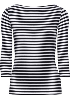 Bailey 44 Woman Succulent Lace-up Striped Stretch-jersey Top Midnight Blue
