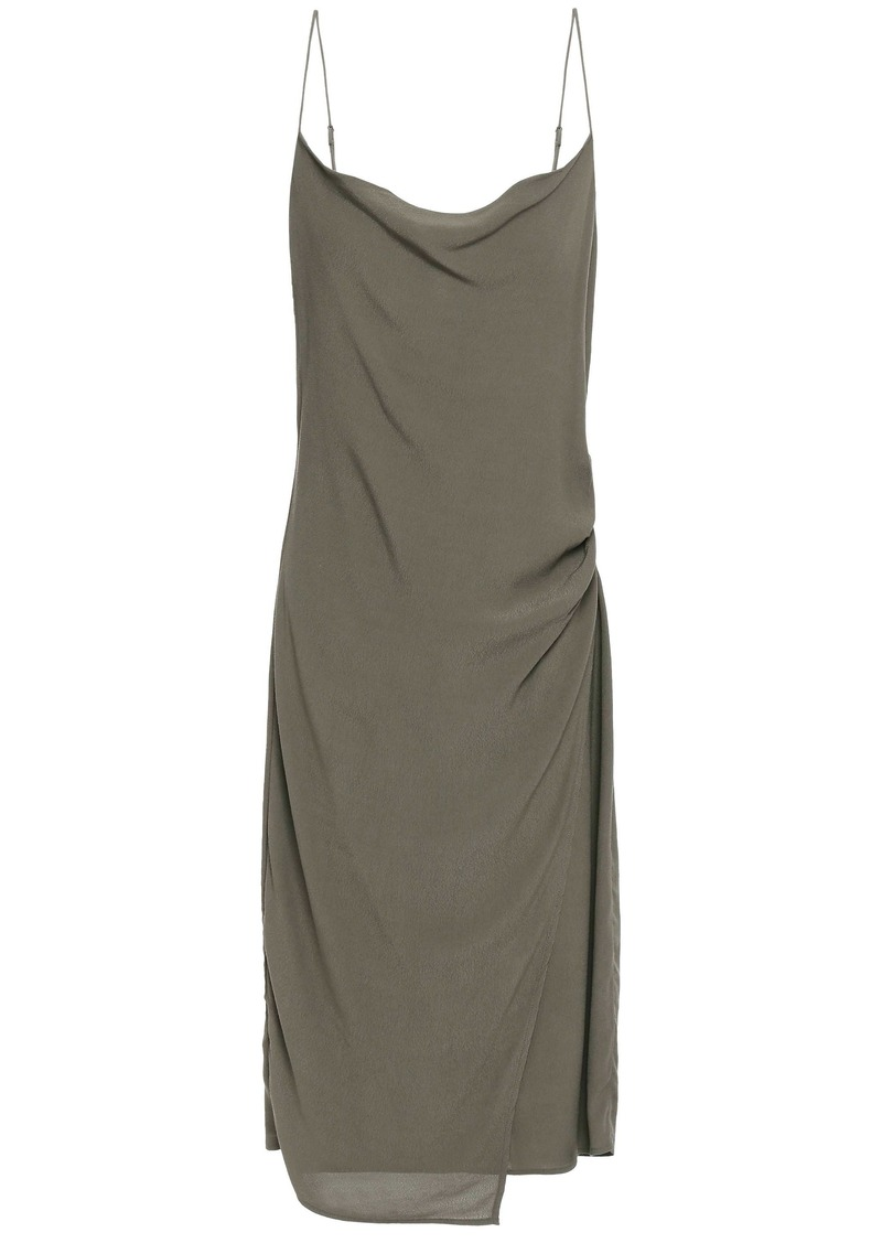 Bailey 44 Woman Wrap-effect Draped Crepe De Chine Dress Army Green