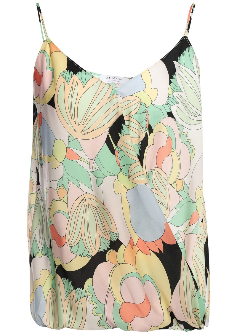 Bailey 44 Woman Wrap-effect Floral-print Crepe De Chine Top Light Green