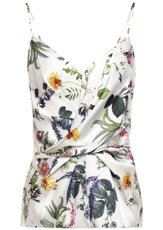 Bailey 44 Woman Wrap-effect Floral-print Satin-twill And Stretch-jersey Camisole White