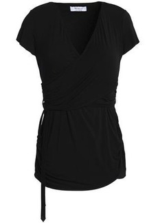 Bailey 44 Woman Wrap-effect Ruched Stretch-jersey Top Black