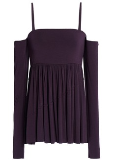 Bailey 44 Woman Zombie Cold-shoulder Stretch-modal Jersey Top Dark Purple