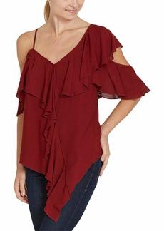 Bailey 44 Women's Ginger Ruffle Sleeve Blouse Saffron red S