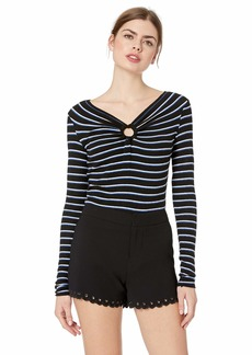 Bailey 44 Women's Warm and Fuzzy Stripe V Neck Sweater Top  M