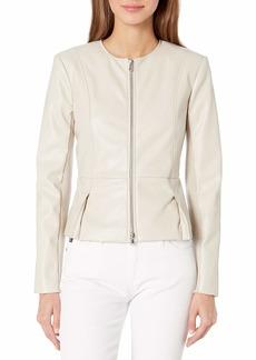Bailey 44 Women's Faux Leather Peplum Zip Up Jacket