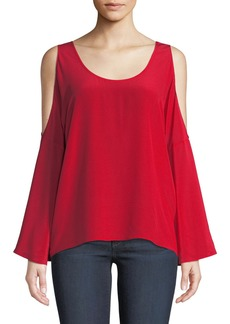Bailey 44 Bonsai Bell-Sleeve Cold-Shoulder Silk Top