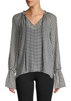 Bailey 44 Cream Puff Bell-Sleeve Gingham Chiffon Blouse