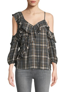 Bailey 44 Cross Country Plaid Ruffle Cold-Shoulder Top