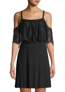 Bailey 44 Dark Horse Cold-Shoulder A-line Dress With Lace Overlay