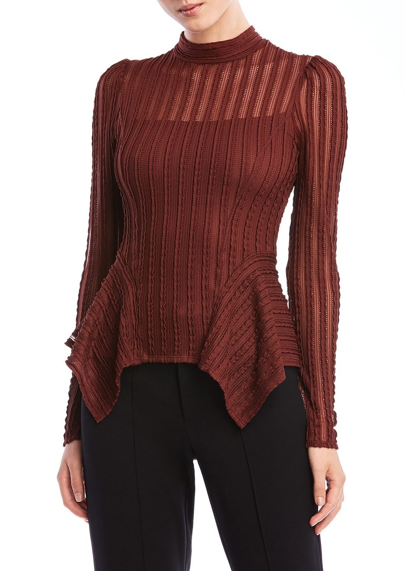 Bailey 44 Eleanor Long-Sleeve Peplum High-Neck Top