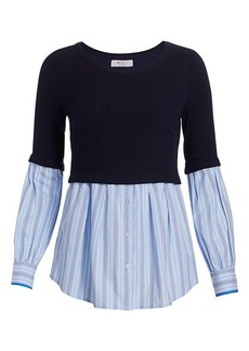 Bailey 44 Esme Rib-Knit & Stripe Combo Sweater Shirt