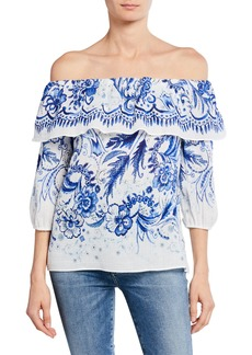 Bailey 44 Farmers Market Off-the-Shoulder Printed Cotton Top