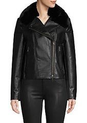 Bailey 44 Faux Fur-Trim Faux Leather Jacket