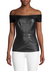 Bailey 44 Glory Faux Leather Off-The-Shoulder Top
