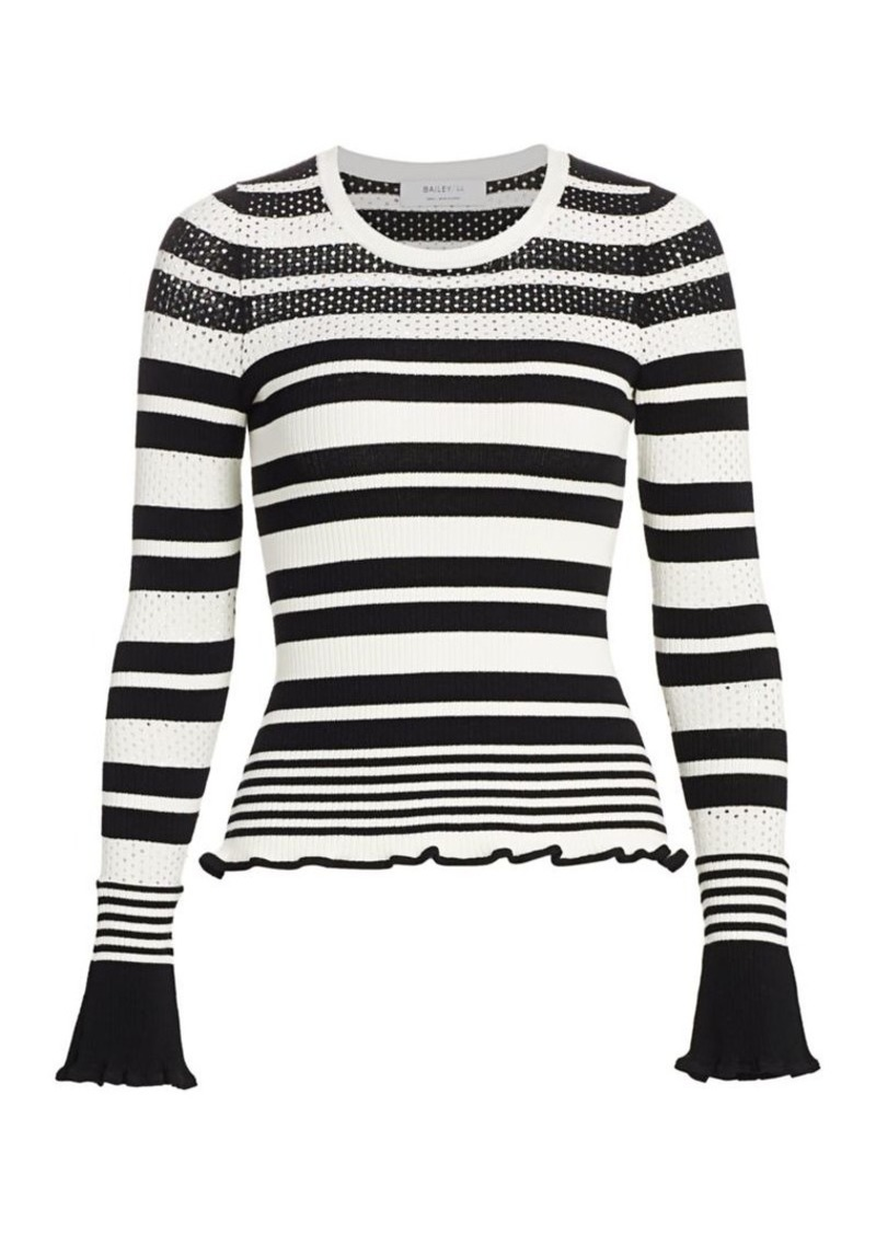 Bailey 44 Womens Warm and Fuzzy Stripe V Neck Sweater Top
