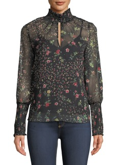 Bailey 44 Misha Floral-Print Turtleneck Blouse