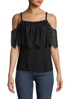 Bailey 44 Montage Cold-Shoulder Top with Lace Overlay