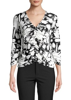 Bailey 44 Moody Floral-Print Ruched Blouse