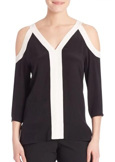 Bailey 44 Silk-Blend Split Rock Cold Shoulder Top