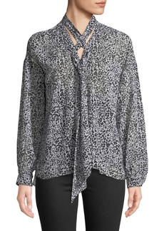 Bailey 44 Snake Eyes Animal-Print Chiffon Tie-Neck Blouse