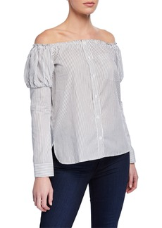 Bailey 44 Sovereign Off-the-Shoulder Striped Poplin Shirt