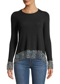 Bailey 44 Taiko Crewneck Knit Top with Printed Chiffon Hem