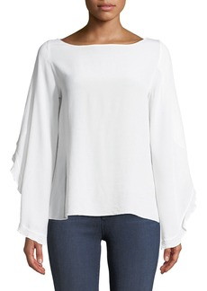 Bailey 44 Thesis Split-Sleeve Ruffle Silk Top