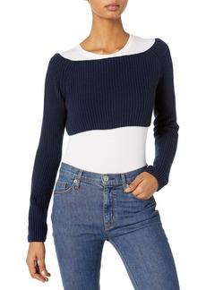 Baja East Women's Cashmere Fisherman Rib Crop Sweater