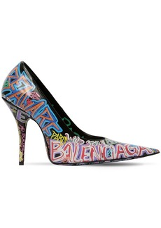 Balenciaga 110mm Graffiti Print Leather Pumps